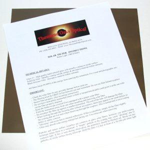 Thousand Oaks Solar Filter Film Sheet